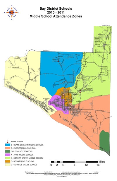 Panama City Florida Middle School Zone Map